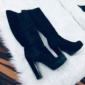 Guess Suede Knee High Black Boots